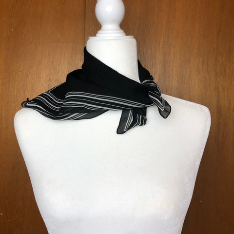 Black with white frame silk scarf