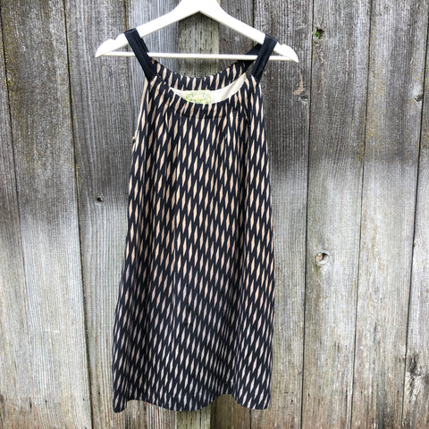 Silk navy blue and tan diamond patterned dress