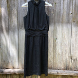 Vintage sleeveless black silk dress