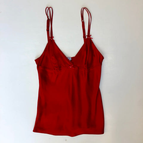 Red silk camisole with little bows