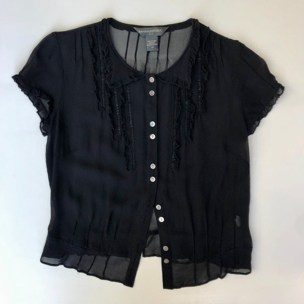 Banana Republic black silk transparent blouse