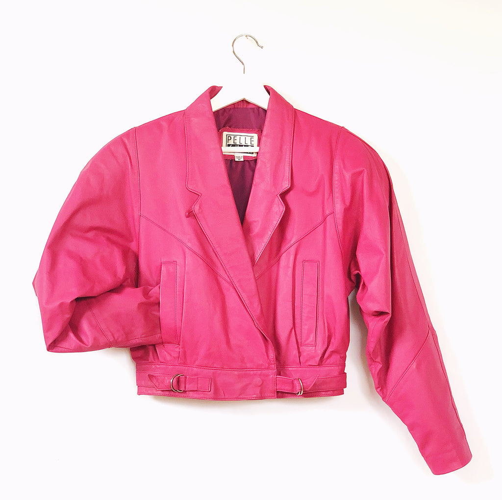 1980s retro pink leather bomber jacket