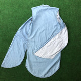 Long light blue jean vest with side splits