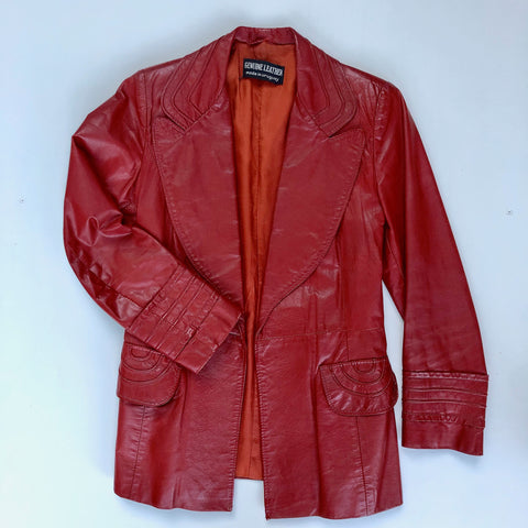 1970s burnt orange leather jacket