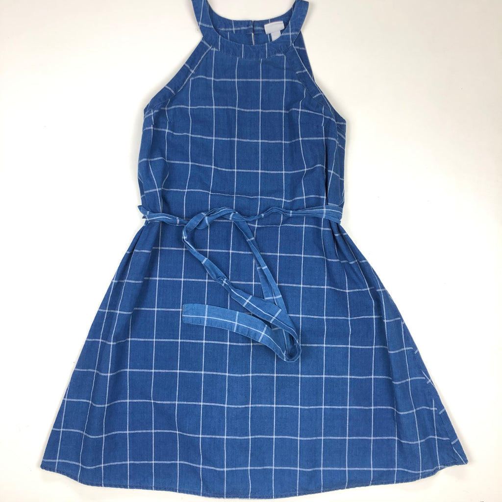 Checkered blue a-line dress with belt