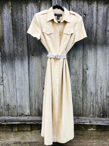 Light yellow silk and linen button down dress