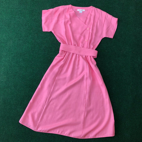 1950s dust pink silk tea length dress