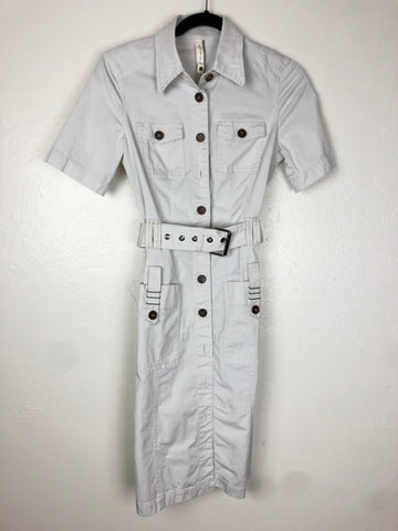 Cream safari button down dress