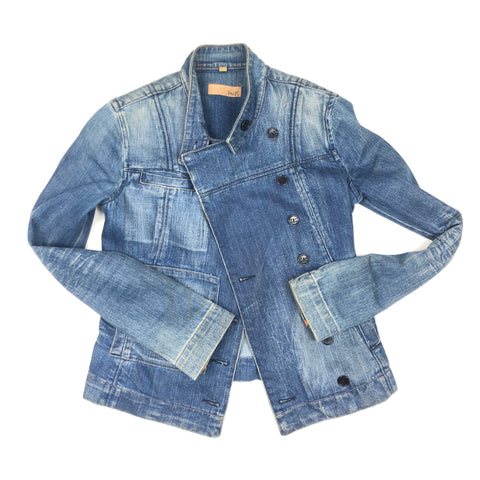 Asymmetrical button up jean jacket