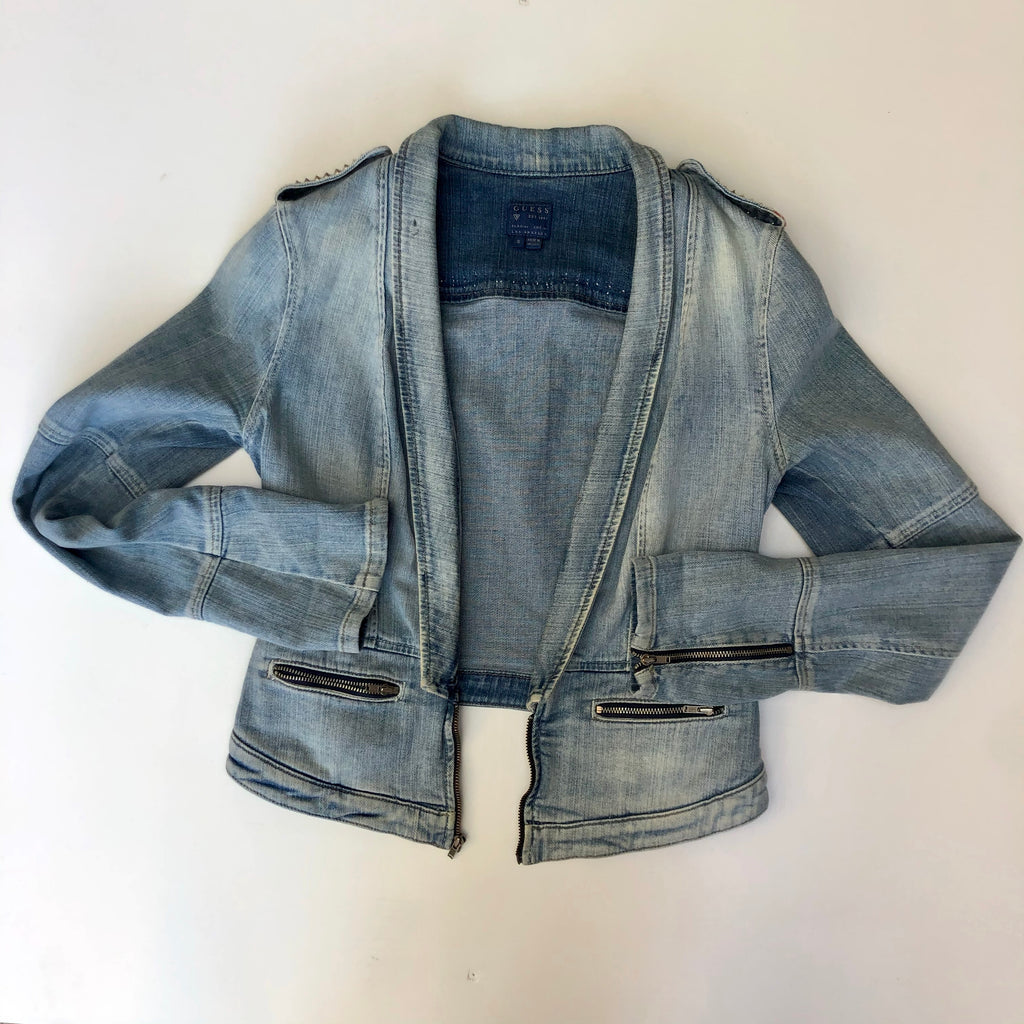 Guess jean jacket with shoulder studs