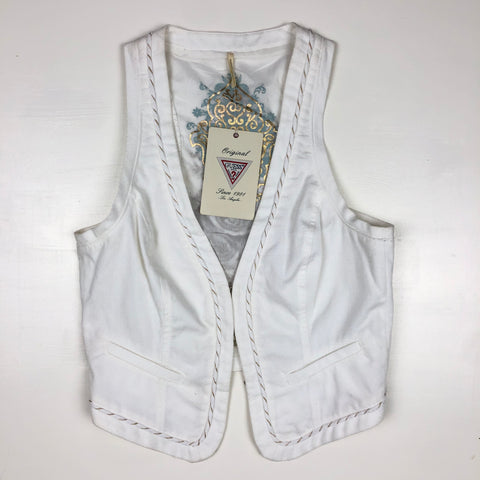 Guess white embellished vest NWT