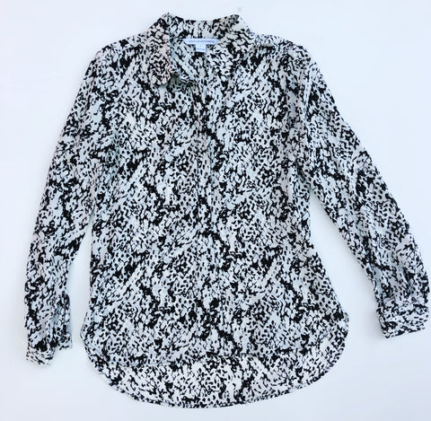 Diane von Furstenberg black and white silk blouse