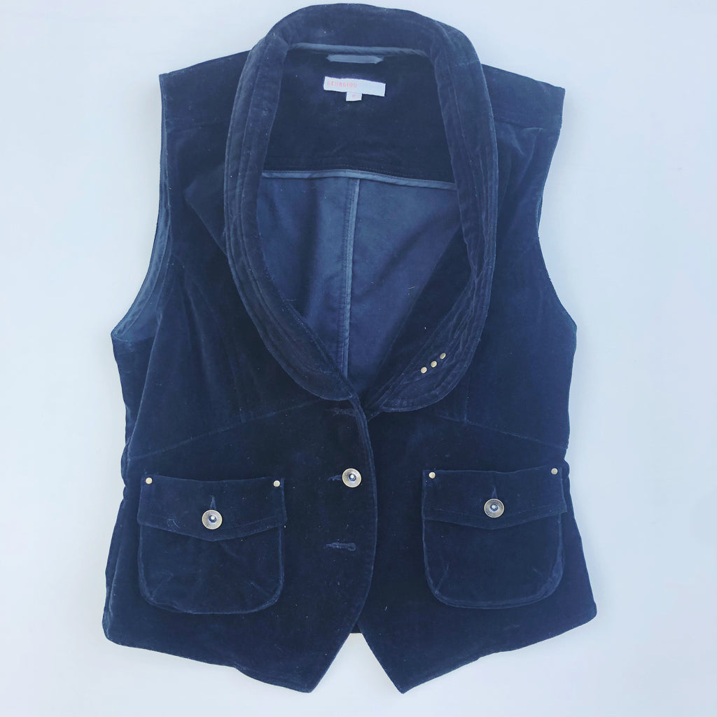 Georgiou Studio black velvet vest