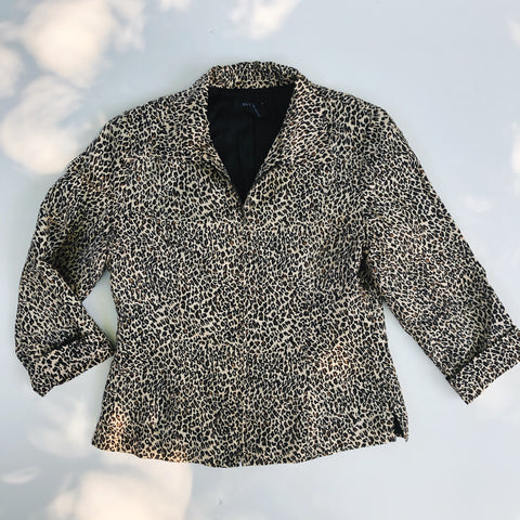 Silk leopard zip jacket