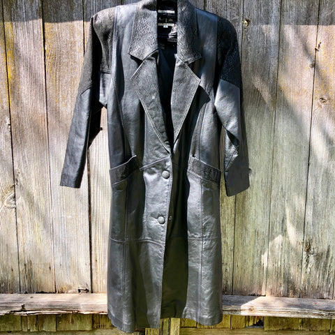 Global Identity black leather trench coat