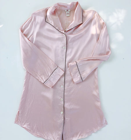 Red Envelope pink silk nightshirt