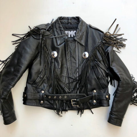 Black leather motorcycle jacket with fringe