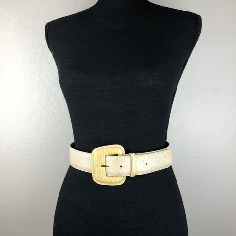 Yellow and cream vintage snake skin belt