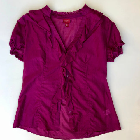 Purple transparent silk blouse with ruffles