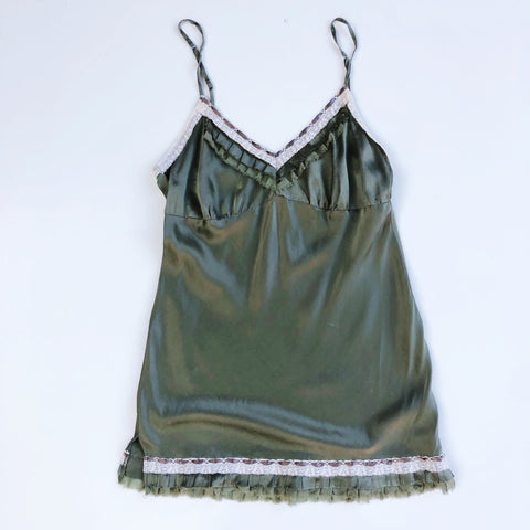 Olive green silk camisole