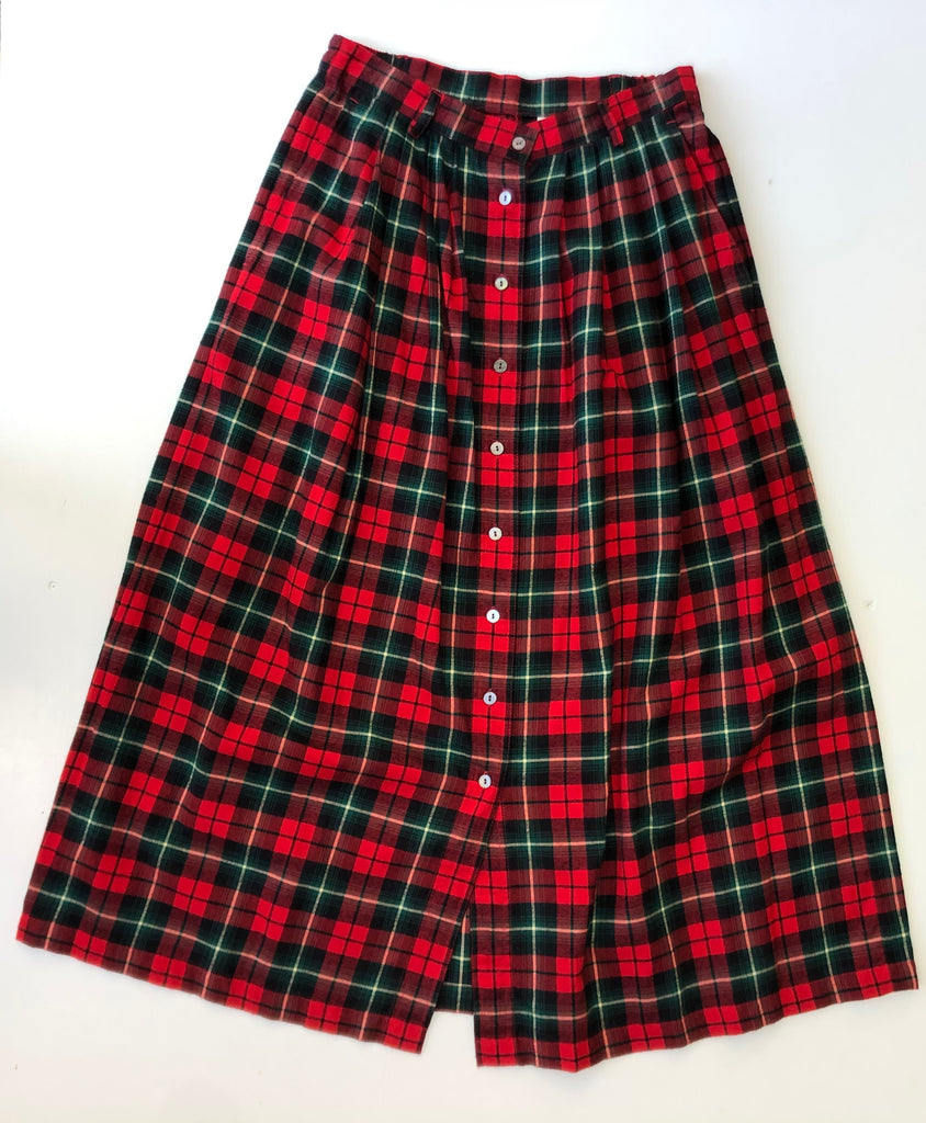 Red plaid flannel skirt full length