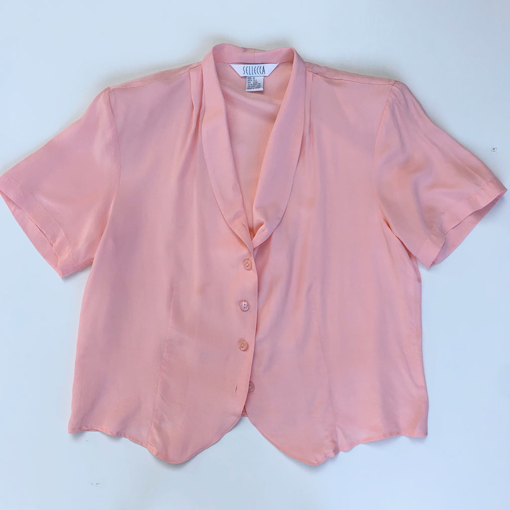 Pink v-neck silk blouse