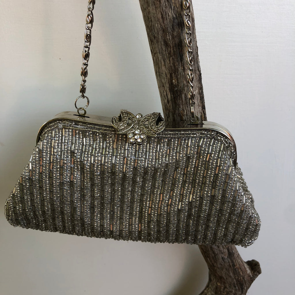 Vintage silver beaded evening purse