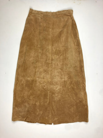 Suede leather skirt full length