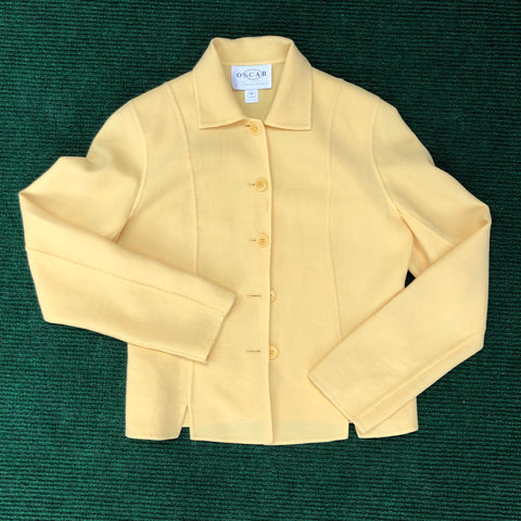 Oscar de la Renta yellow wool crepe jacket