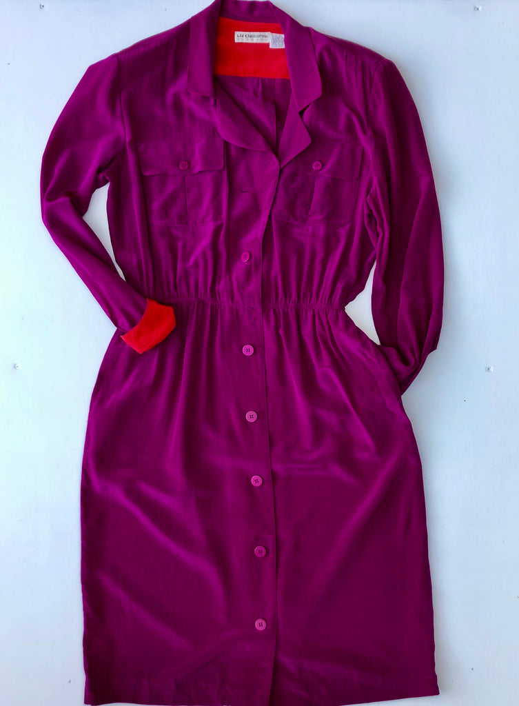 Liz Claiborne purple silk button down dress with red lining