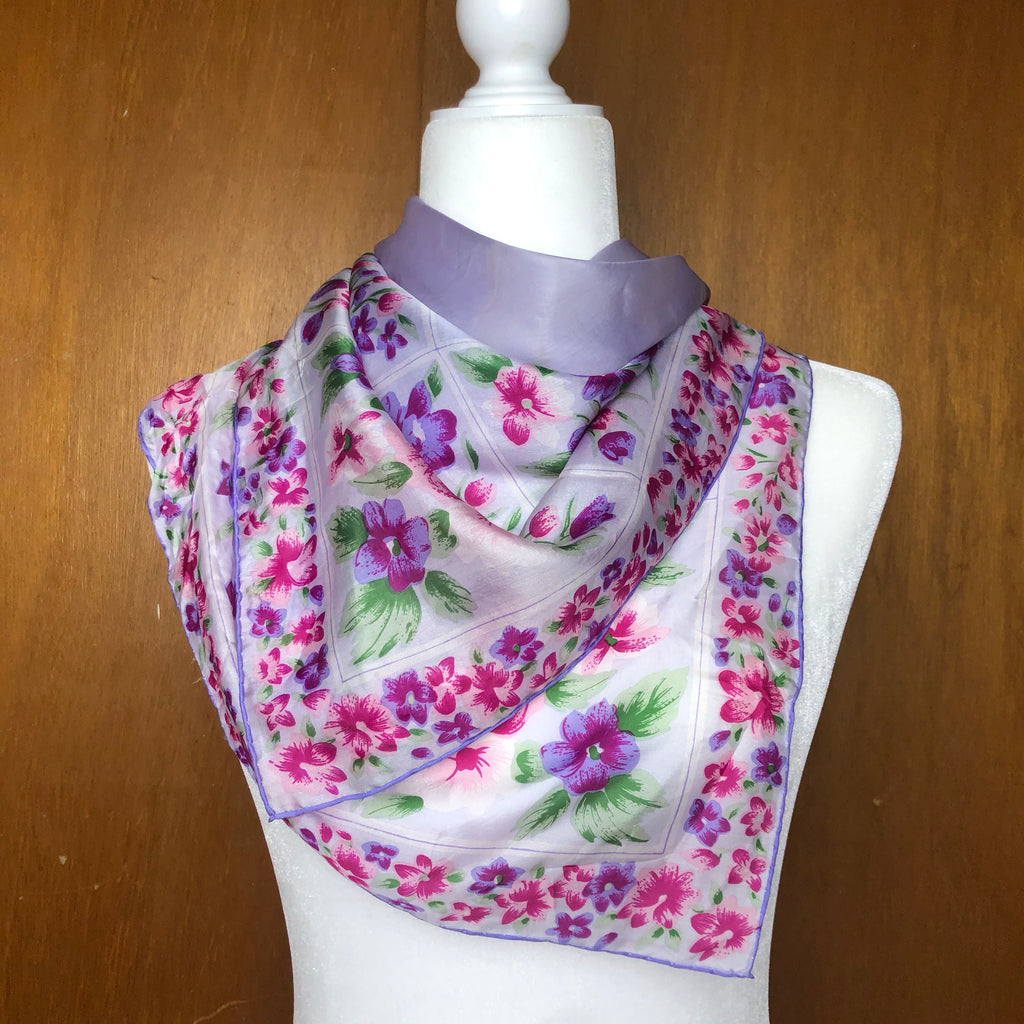 Purple and pink floral silk scarf