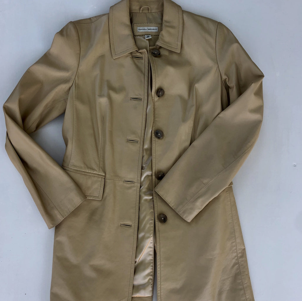 Banana Republic light tan leather trench coat