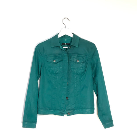 7 for All Mankind teal blue canvas waxed jacket