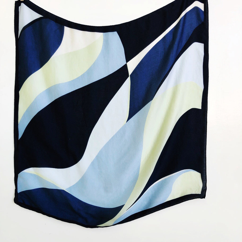Abstract in blue silk scarf