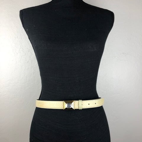 Liz Claiborne cream snake skin belt with bling buckle