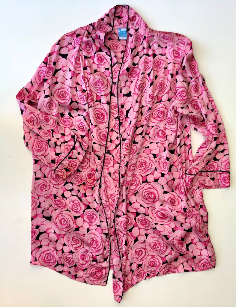 Pink and black roses silk robe