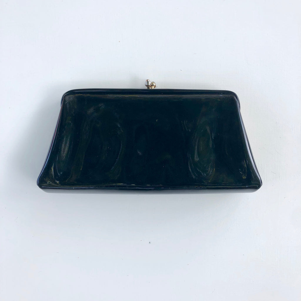 Black patent leather clutch with kiss clasp