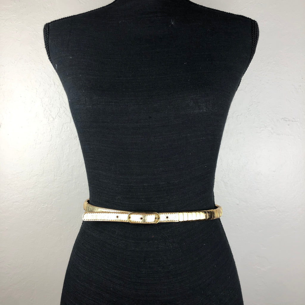Gold leather and metal belt