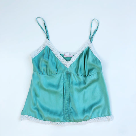 Sea green silk camisole with lace trim