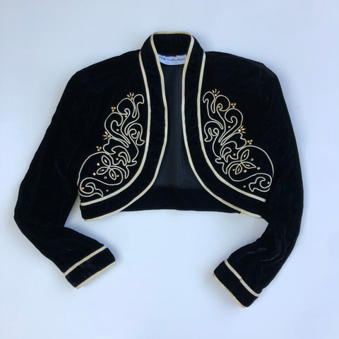 Black velvet bolero jacket with gold embellishment and trim
