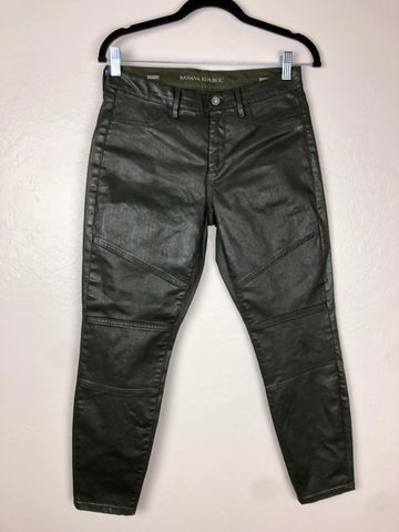 Banana Republic olive waxed cotton pants
