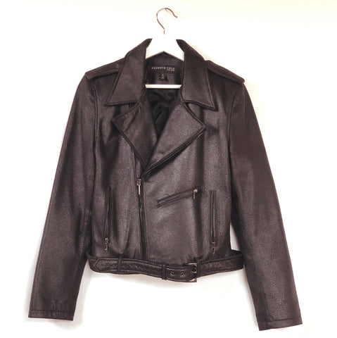Soft and sparkly black leather jacket by Kenneth Cole