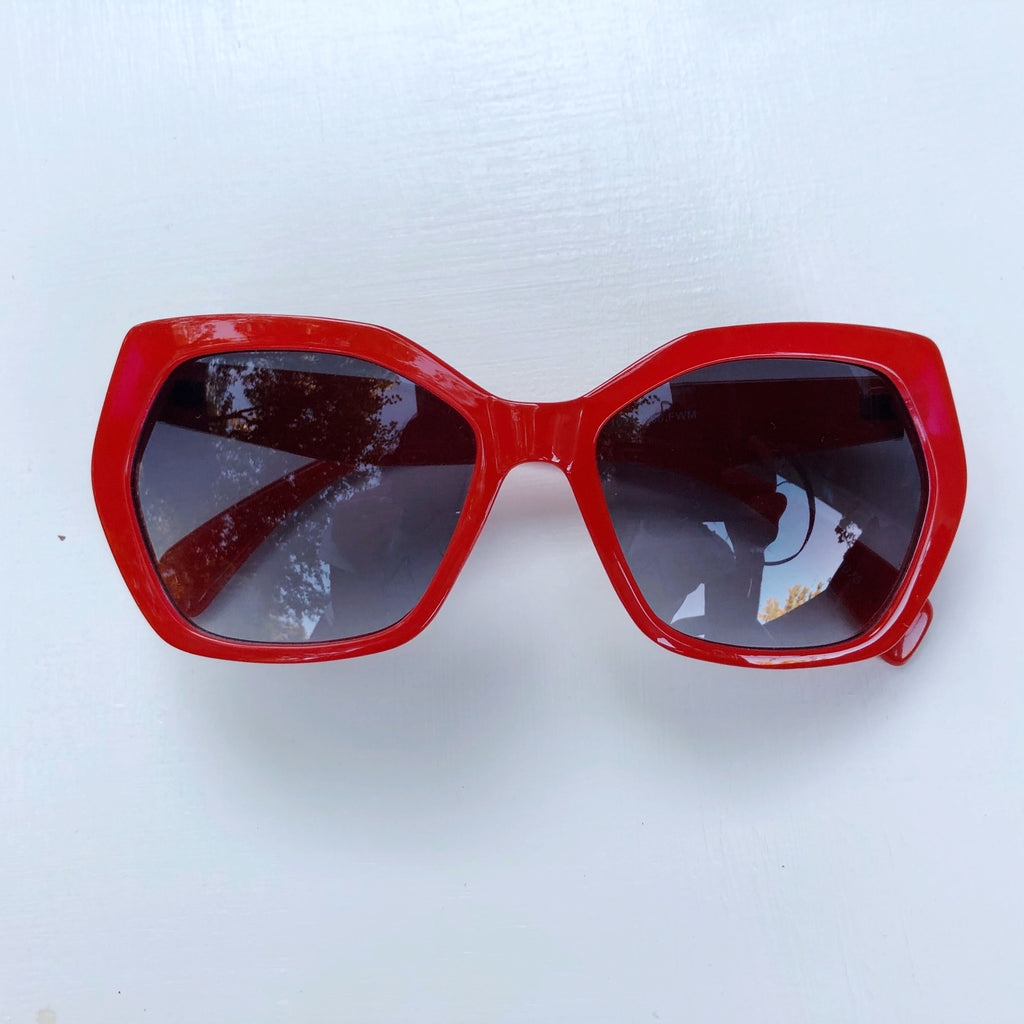 Red almost hexagon shades