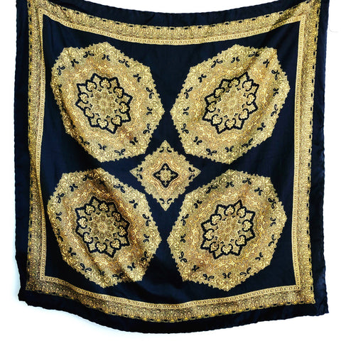 Black and gold mandalas silk scarf