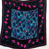 Georgiou black and pink floral silk scarf