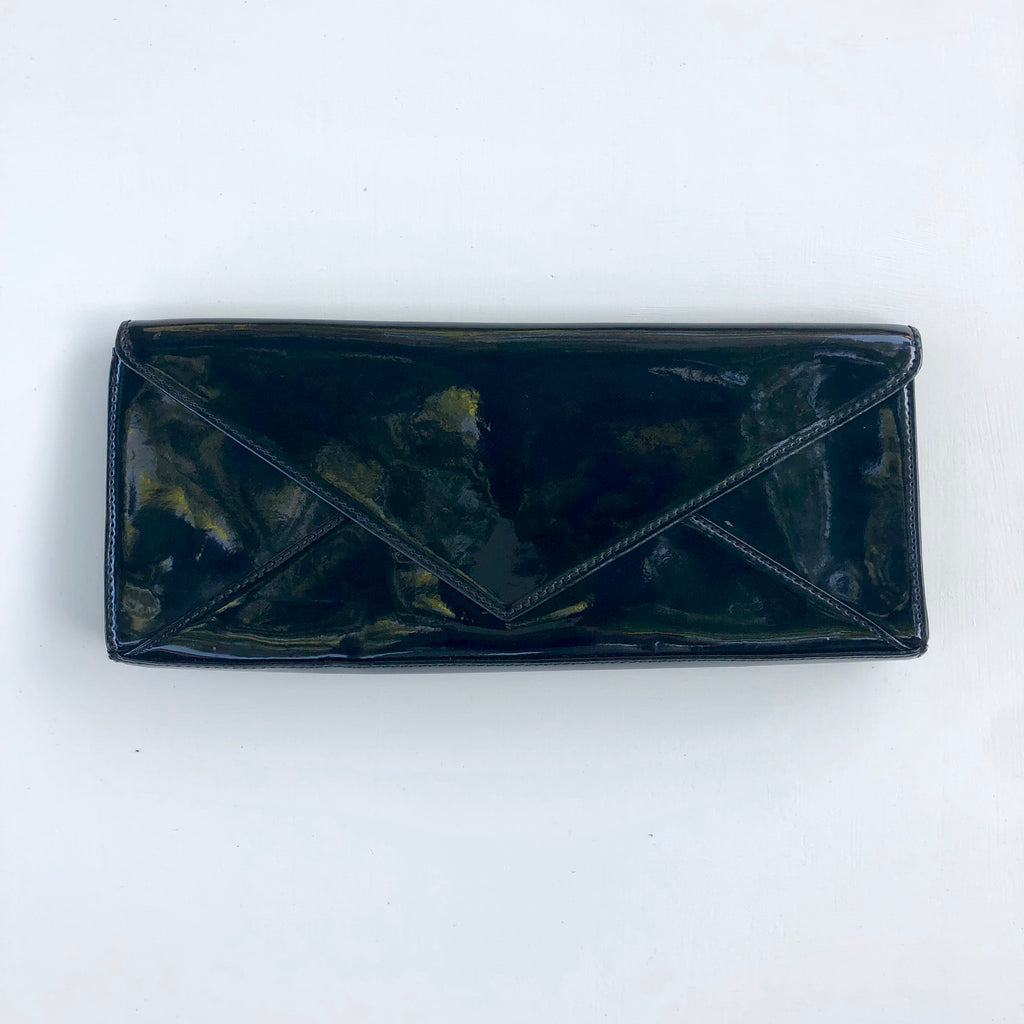 Black patent leather envelope clutch