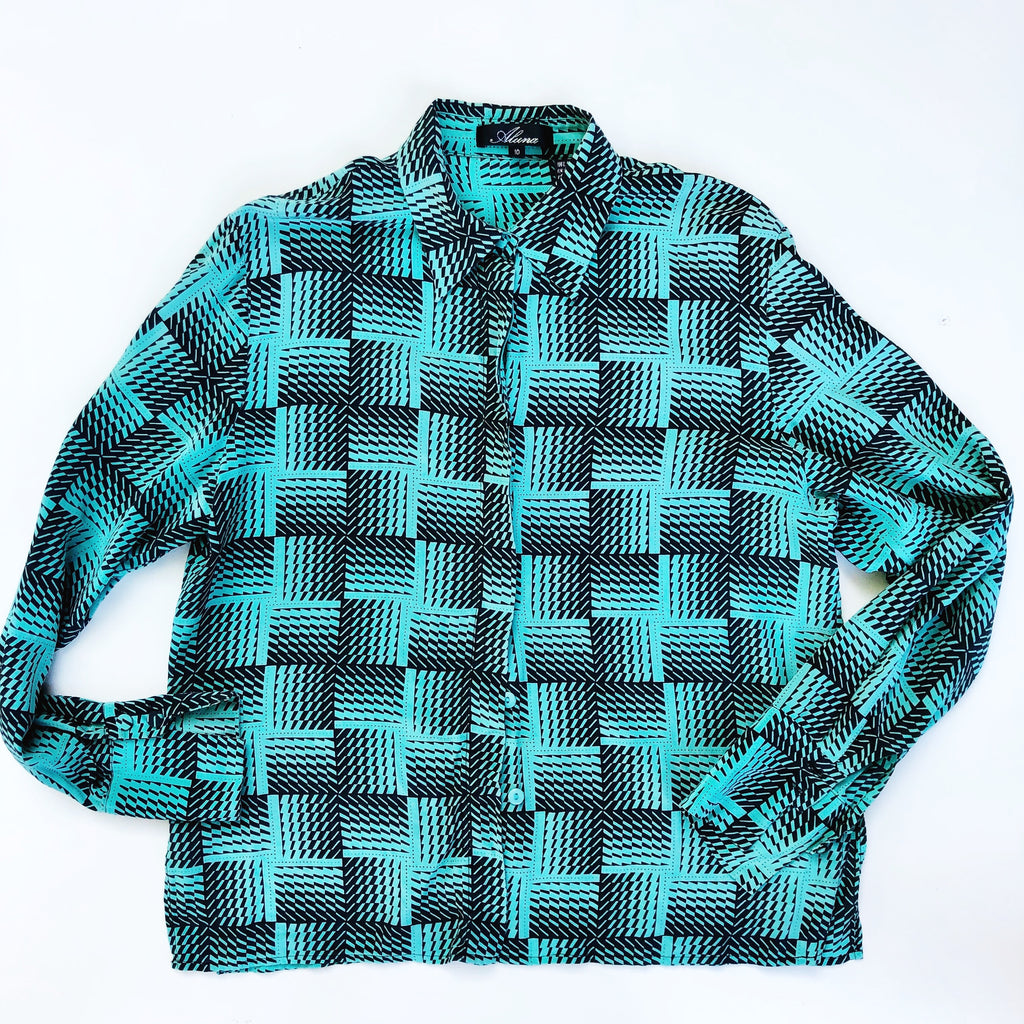 Retro teal checkered silk blouse
