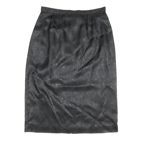 Black silk knee length skirt