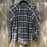 Lucky Brand black and white flannel blouse