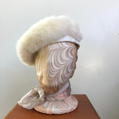 White rabbit fur beret with leather trim